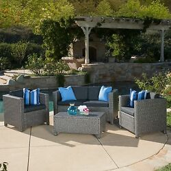 Wicker Sofa Set Grey Garden Pool Yard Outdoor Furniture Patio All Weather Table