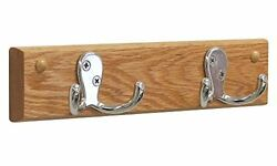 Wooden Mallet HSD2NLO 2 Double Prong Hook RailCoat Rack NickelLight Oak NEW