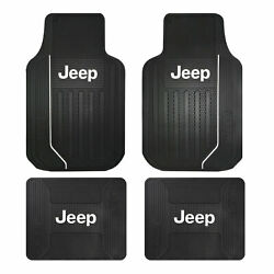 New Jeep Elite Logo All Weather Heavy Duty Rubber Front Back Floor Mats Set $68.34