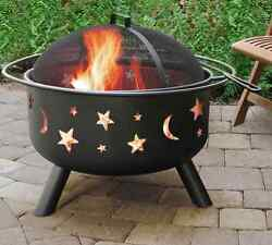 Portable Fire Pit Spark Screen Cooking Grate Charcoal Wood Camping Patio Yard