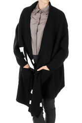 ALEXANDER MC QUEEN New Women Black Cardigan wool Cashmere Made Italy Over size