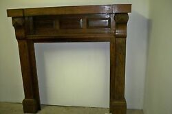 Antique Albemarle NC MissionArtsCrafts Oak Mantel Original Stickeriron insert