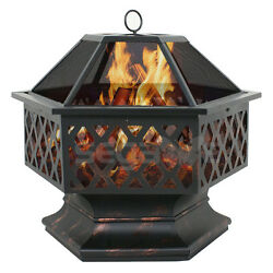 Outdoor Hex Shaped Patio Fire Pit Home Garden Backyard Firepit Bowl Fireplace