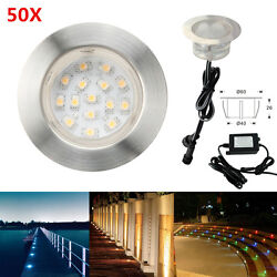 50Pcs Φ60mm 1.5W 12V Outdoor Garden Path Stair LED Deck Rail Inground Lights Kit
