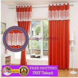 Custom Made Red Orange Velvet Lace Sheer Drapes Curtains Eyelet Pleats Rod Viole
