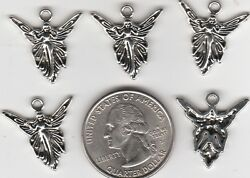 YOU GET 25 SILVER TONE METAL FAIRY ANGEL CHARMS.  JUNKMANRALF  U.S. SELLER  - A4 $3.99
