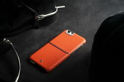PEGACASA iPhone 6 6S Plus Orange Case with Genuine Nappa Leather Polycarbonates