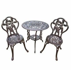 New Palm 3-Piece Cast Iron Bronze Outdoor Patio Balcony Bistro Table Chair Set