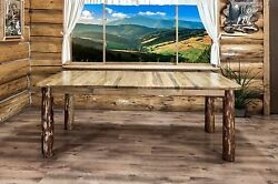Rustic Log Dining Room Tables 7 foot Solid Pine Extending Table Cabin Furniture