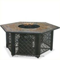 Uniflame LP Gas Outdoor Firebowl with Slate Tile Mantel Transitional Fire Pit