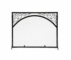 New 30-in Graphite Iron Scroll Arch Design Feature Durable Fireplace Screen
