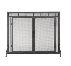 New 44-in Black Iron Flat Twin Pane Design Feature Durable Fireplace Screen