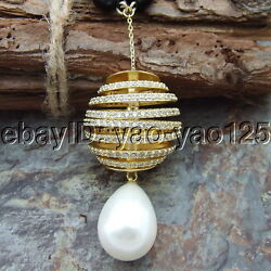 H072507 26'' 10mm Onyx Necklace Cz Sea Shell Pearl Pendant