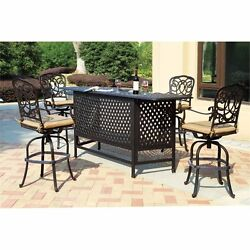 Darlee Florence 5 Piece Patio Pub Set with Seat Cushion-Antique Bronze