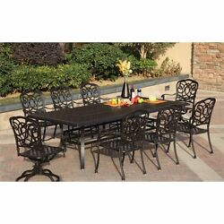 Darlee Florence 9 Piece Patio Dining Set with Seat Cushion-Mocha