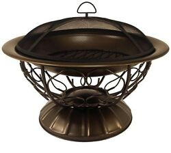 Fire Pit Bowl Wood Burning Portable Patio Backyard Outdoor Fireplace Steel 29