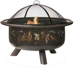 Portable Fire Pit Bowl Wood Burning Outdoor Backyard Patio Fireplace 36 Inch