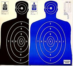 Paper Shooting Targets 50 Black50 Blue Silhouette Gun Pistol Rifle B-27 Qty:100
