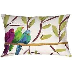 46cm Outdoor Deck and Patio Flocked Together Birds Rectangular Throw Pillow. Del
