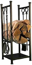 Panacea Log Bin And Fireplace Set With 4 Tools Black Outdoor Heating Fire Pits