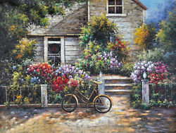 Framed Painting by Number kit Romantic Garden Nice Cabin Warm Home DIY LG7145