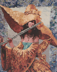 The Melody She Plays Fine Art Jacquard Woven Stretched Panel Tapestry Wall Art
