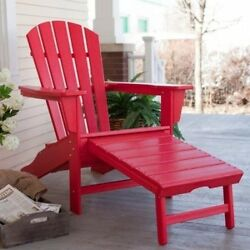 ! POLYWOOD® Recycled Plastic Big Daddy Adirondack Chair with Pull-out Ottoman.