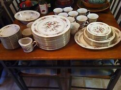 55 Piece Noritake Ivory China 7151 Asian Song Oriental Floral Decor w Gold Trim