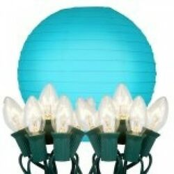 JH Specialties Inc. 24510 String Lights with Paper Lanterns- Turquoise 10 Count.