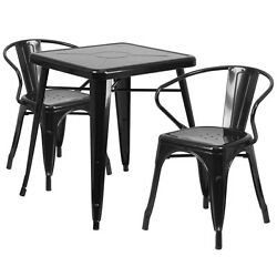 Lot of 8 Black Home Restaurant Metal Indoor-Outdoor Table Set with 2 Arm Chairs