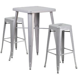 Lot of 8 Silver Metal Indoor-Outdoor Bar Table Set with 2 Backless Barstools