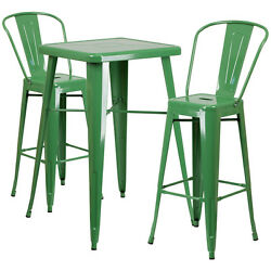 Lot of 8 Green Home Metal Indoor-Outdoor Bar Table Set with 2 Barstools