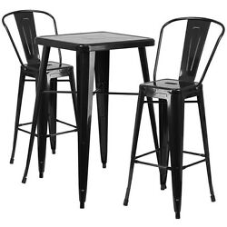 Lot of 8 Black Home Metal Indoor-Outdoor Bar Table Set with 2 Barstools