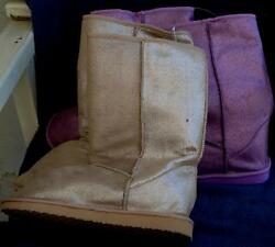 Sears Metallic Glittery Finish Slipper Boots VARIOUS SIZES AND COLORS NEW $21.99