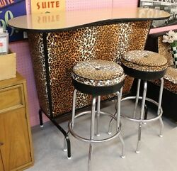 Vintage LEOPARD COVERED BAR & TWO Bar Pub Stools 1950s 1960s Recovered