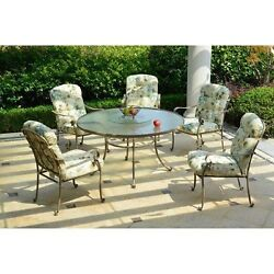 Outdoor Garden Wrought Iron 6-Piece Patio Dining Set Furniture Cream Seats 5
