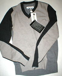 New Mens NWT Small Designer Maison Martin Margiela Italy Wool Sweater Gray Black