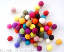 Multi-color wool Felt Balls Christmas Nursery Garland decoration 2cm Pure Craft