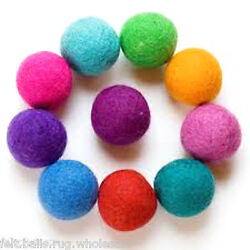 Multi-color  Garland wool Felt Balls Christmas Nurserydecoration 2cm Pure wool