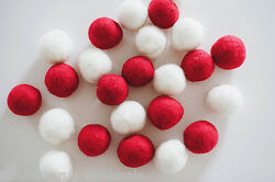 Multi-color Felt Balls Garland wool Christmas Red Nurserydecoration 2cm