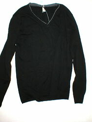 New NWT Mens Italy Designer Kaos Wool Silk Sweater XL Black Gray Soft Shirt LS