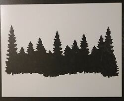 Forest Line Pine Trees Smokey Mountains 11quot; x 8.5quot; Stencil FAST FREE SHIPPING $12.73