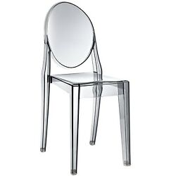 Casper Modern Transparent Plastic Dining Side Chair Smoked Clear