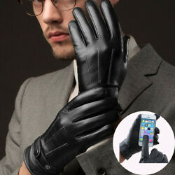 Warm Mens Winter Gloves Leather Motorcycle Full Finger Touch Screen Warm Gloves $8.99