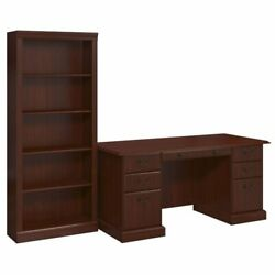 kathy ireland Office Manager's Desk and Bookcase in Harvest Cherry $643.71
