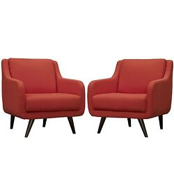 Set Of 2 Verve Mid century Upholstered Armchairs w Wood Legs Atomic Red