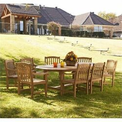 Bowery Hill 9 Piece Wood Patio Dining Set in Light Brown