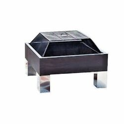 Modern Stainless Steel Outdoor Fire Pit Wood Burning Fireplace Backyard Cover