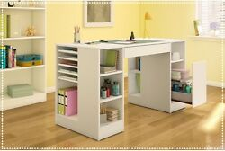 Craft Table With Storage Art Supply Organizer Home Hobby Sewing Machine Desk