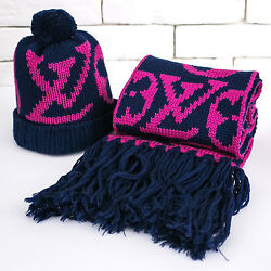 Authentic Louis Vuitton Set Lot Hat & Scarf  Muffler Veron Pink Navy 100% Wool